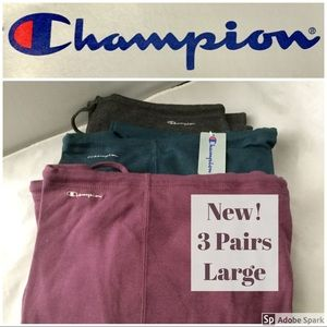 NWT 3 Pairs Champion Sweat Pants Teal Grey Magenta